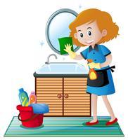 De schoonmaker die het toilet schoonmaakt