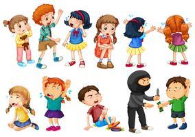 Kinderen op verschillende misdaadscènes vector