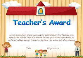 Certificaat met studenten en school op achtergrond vector