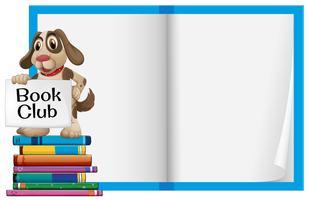 Een hond en een leeg notitieboekje
