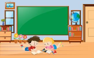 Jongen en meisje leesboek in de klas vector