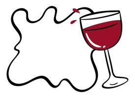 Grensmalplaatje met rode wijn in glas vector