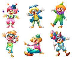 Zes verschillende clown kostuums