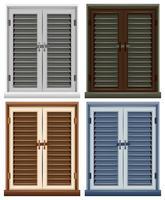 Vier raamkozijnen in verschillende kleuren