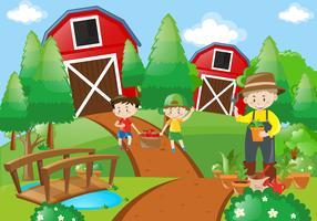 Landbouwer en kinderen die op de boerderij werken vector