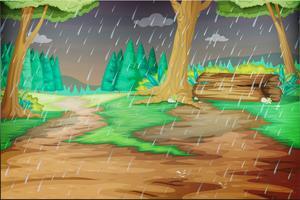 Parkscène op regenachtige dag