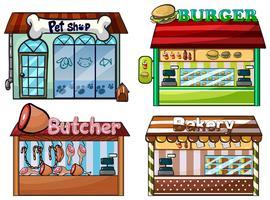 Dierenwinkel, hamburgertent, slagerij en bakker