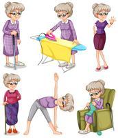 Oude vrouw in verschillende acties