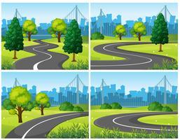 Vier scènes van stadspark en wegen