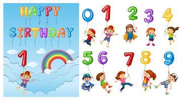 Kinderen met cijfers en ballonnen