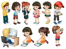 Verschillende activiteiten van jonge vrouwen vector
