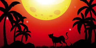 Silhouetscène met jachtluipaard in bos