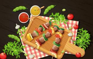Gezonde barbecue op Woden-bord vector