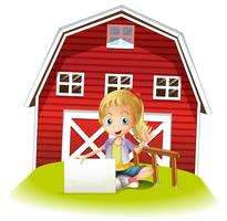 Een meisjeszitting voor barnhouse die een leeg uithangbord houdt