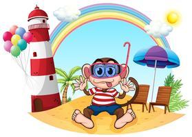 Een aap met goggle op het strand