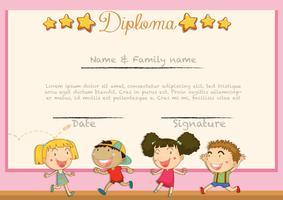Diploma met kinderen achtergrond vector