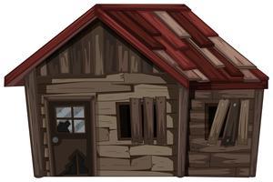 Houten huis met zeer slechte staat