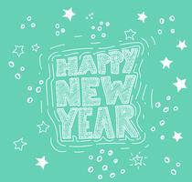 Handgetekende 'Gelukkig Nieuwjaar' illustratie, vector