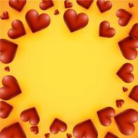 Hoog gedetailleerde harten op een gele achtergrond, vectorillustratie