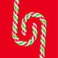 Hoog gedetailleerd rood en groen suikergoedriet, vectorillustratie