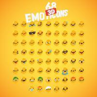 Gele hoog gedetailleerde 3D schijf emoticon set, vectorillustratie
