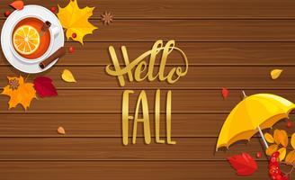Hallo herfst belettering op houten achtergrond. vector