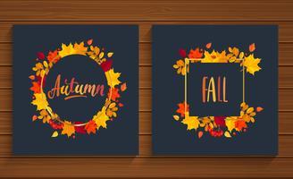 Herfst en herfst kaarten in frame van herfst bladeren.
