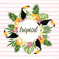 Ananas, toekan en tropische bladeren met strepen naadloos patroon backgroun