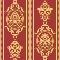 Naadloos damastpatroon. Goud en rode textuur