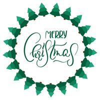 frame van dennenbomen en Merry Christmas. Vector illustratie