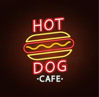 Neonteken van hamburger café. vector