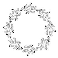 de ronde bloeit uitstekende decoratieve whorls kaderbladeren die op witte achtergrond worden geïsoleerd. Vectorkalligrafieillustratie EPS10