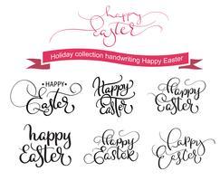 Gelukkige Pasen-handwrittingwoorden op witte achtergrond. Hand getrokken kalligrafie belettering vectorillustratie EPS10