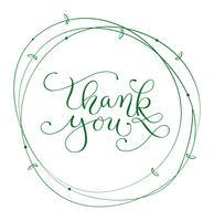 abstract rond frame en kalligrafische inscriptie bedankt. Vector illustratie EPS10