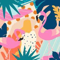 Tropische jungle bladeren en bloemen poster achtergrond met flamingo's