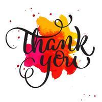 Bedankt tekst op aquarel rode vlek. Hand getrokken kalligrafie belettering vectorillustratie EPS10