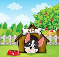 Een hond in een hondenhuis in een achtertuin met een appelboom