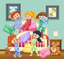 Kinderen op het slaapfeestje vector