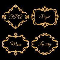 Stel verzameling van sier vintage frames met voorbeeldtekst in goudgele kleur. vector