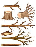 Brandhout en boomstronkbomen vector