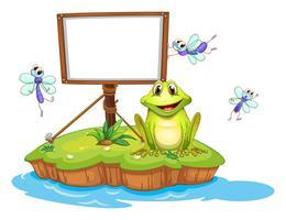 Een lege ingelijste uithangbord met een dier en insecten