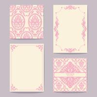 Verzameling van kaarten vintage ontwerpelementen instellen. Patronen, frames