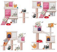 Katten en verschillende ontwerpen van kattenhuis vector
