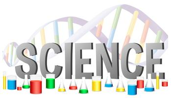 Woordontwerp voor wetenschap met wetenschapsmateriaal vector