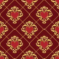 Heilig hart en gouden ketting op donkerrode achtergrond. Naadloos patroon. Vector illustratie