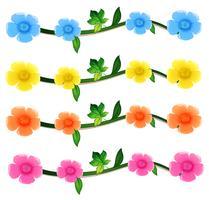 Naadloze bloemen in vier kleuren vector