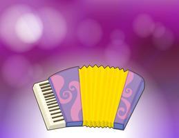 Een paarse briefpapier met een muziekinstrument