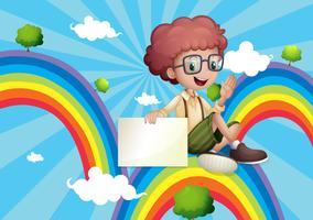 Een jongen boven de regenboog met een leeg bord vector