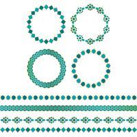 blauwgouden Marokkaanse kaders en randpatronen vector