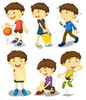 Jongen in vijf poses